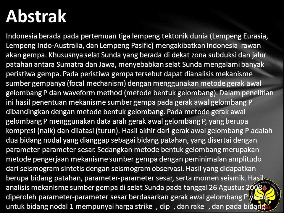 Abstrak Indonesia berada pada pertemuan tiga lempeng tektonik dunia (Lempeng Eurasia, Lempeng Indo-Australia, dan Lempeng Pasific) mengakibatkan Indonesia rawan akan gempa.