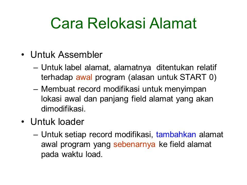 Untuk Assembler –Untuk label alamat, alamatnya ditentukan relatif terhadap awal program (alasan untuk START 0) –Membuat record modifikasi untuk menyimpan lokasi awal dan panjang field alamat yang akan dimodifikasi.