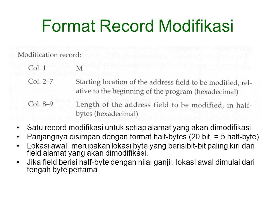 Format Record Modifikasi Satu record modifikasi untuk setiap alamat yang akan dimodifikasi Panjangnya disimpan dengan format half-bytes (20 bit = 5 half-byte) Lokasi awal merupakan lokasi byte yang berisibit-bit paling kiri dari field alamat yang akan dimodifikasi.