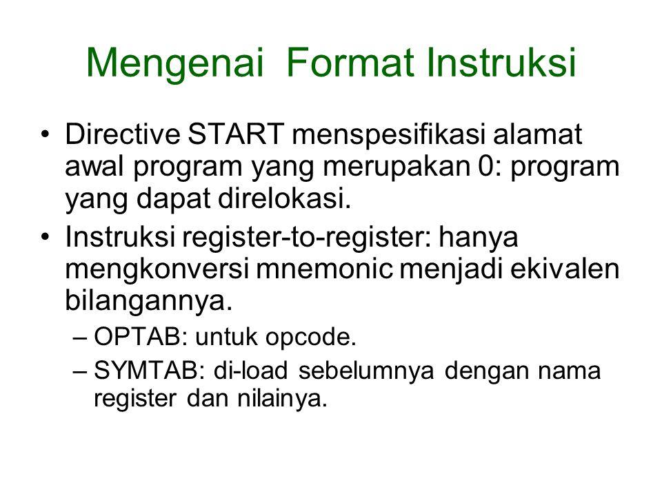 Mengenai Format Instruksi Directive START menspesifikasi alamat awal program yang merupakan 0: program yang dapat direlokasi.