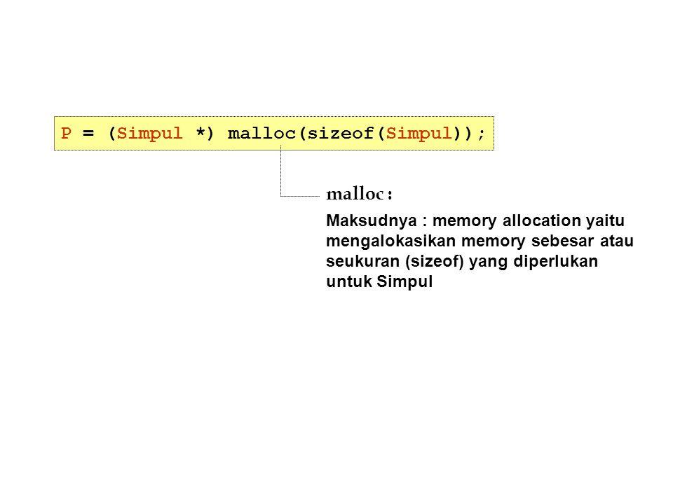 P = (Simpul *) malloc(sizeof(Simpul)); malloc : Maksudnya : memory allocation yaitu mengalokasikan memory sebesar atau seukuran (sizeof) yang diperluk