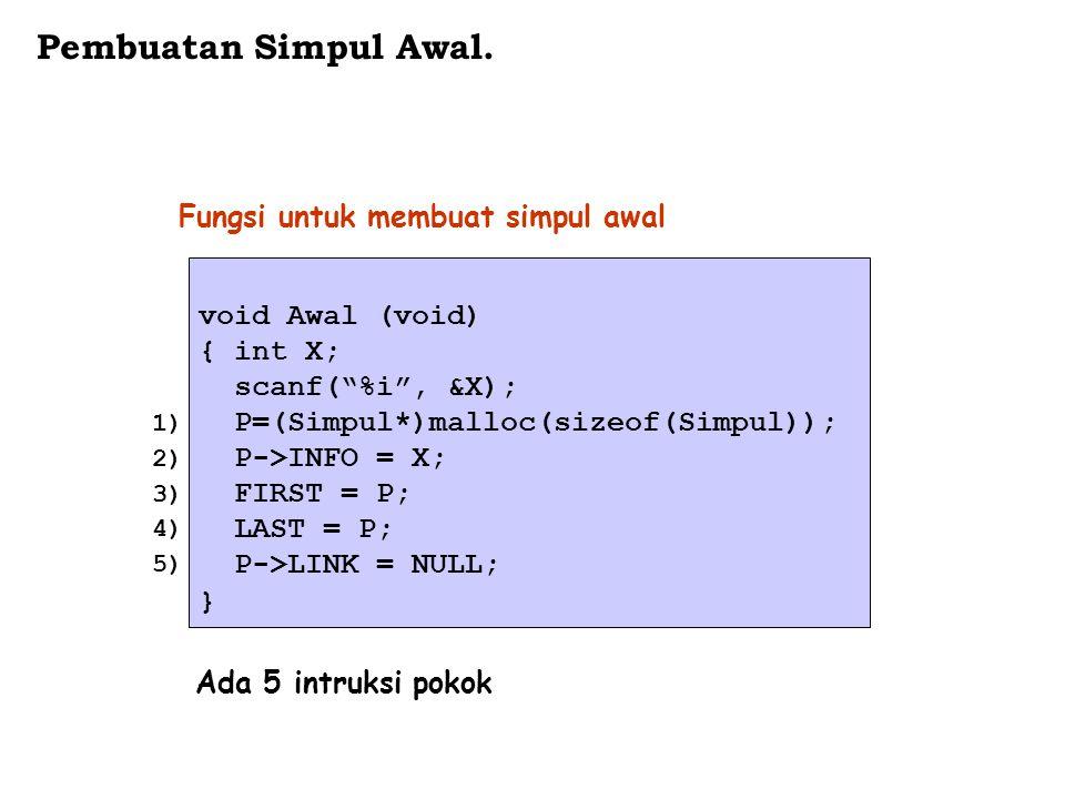 "void Awal (void) { int X; scanf(""%i"", &X); P=(Simpul*)malloc(sizeof(Simpul)); P->INFO = X; FIRST = P; LAST = P; P->LINK = NULL; } Fungsi untuk membuat"