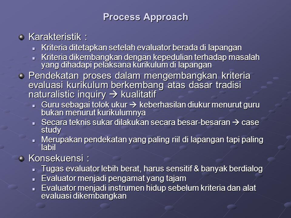 Process Approach Karakteristik : Kriteria ditetapkan setelah evaluator berada di lapangan Kriteria ditetapkan setelah evaluator berada di lapangan Kri