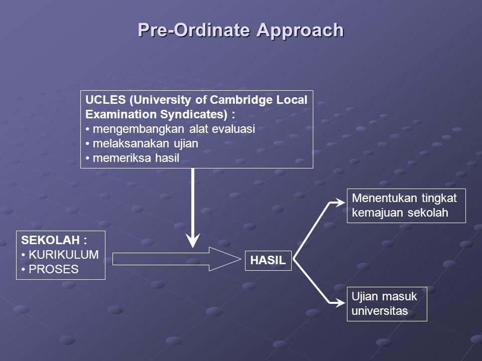 Pre-Ordinate Approach SEKOLAH : KURIKULUM PROSES HASIL UCLES (University of Cambridge Local Examination Syndicates) : mengembangkan alat evaluasi mela