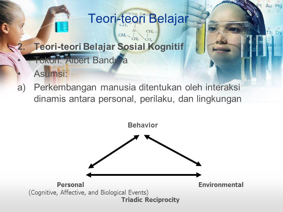 Teori-teori Belajar 2.Teori-teori Belajar Sosial Kognitif Tokoh: Albert Bandura Asumsi: a)Perkembangan manusia ditentukan oleh interaksi dinamis antara personal, perilaku, dan lingkungan PersonalEnvironmental (Cognitive, Affective, and Biological Events) Triadic Reciprocity Behavior