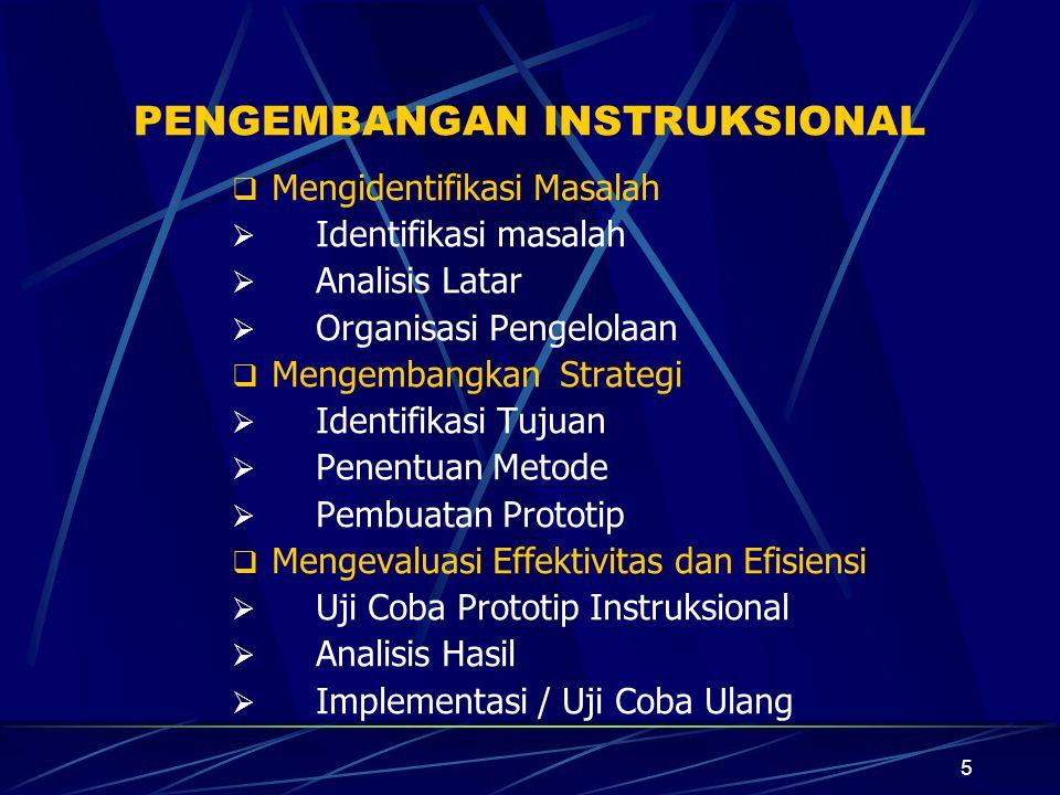 4 PROSES PENGEMBANGAN INSTRUKSIONAL Proses Pengembangan Instruksional dimulai dengan mengidentifikasi masalah, dilanjutkan dgn mengembangkan strategi dan bahan instruksional, lalu diakhiri dgn mengevaluasi efektivitas dan efisiennya.