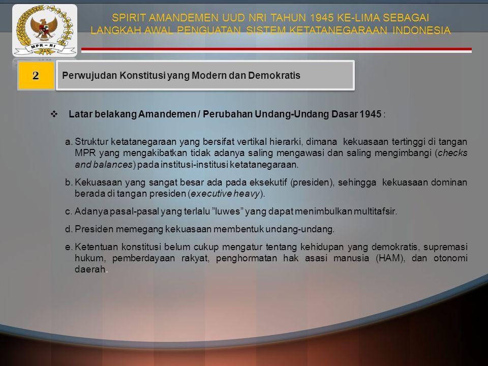 Perwujudan Konstitusi yang Modern dan Demokratis  Latar belakang Amandemen / Perubahan Undang-Undang Dasar 1945 : a.Struktur ketatanegaraan yang bers