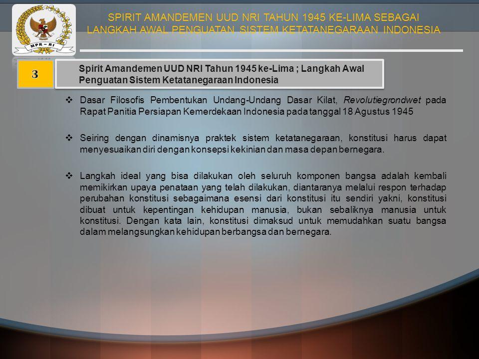 Spirit Amandemen UUD NRI Tahun 1945 ke-Lima ; Langkah Awal Penguatan Sistem Ketatanegaraan Indonesia  Dasar Filosofis Pembentukan Undang-Undang Dasar