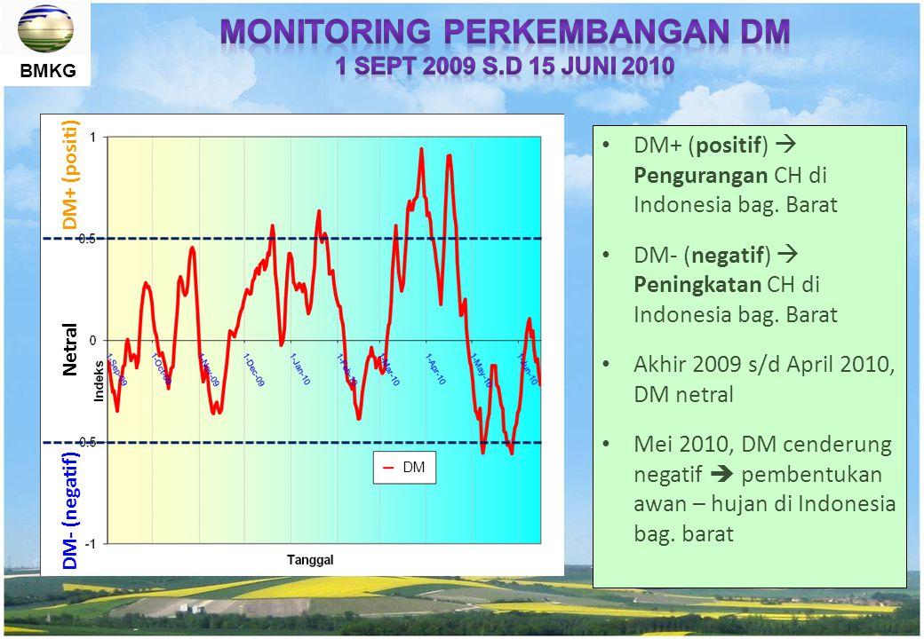 BMKG DM+ (positif)  Pengurangan CH di Indonesia bag. Barat DM- (negatif)  Peningkatan CH di Indonesia bag. Barat Akhir 2009 s/d April 2010, DM netra