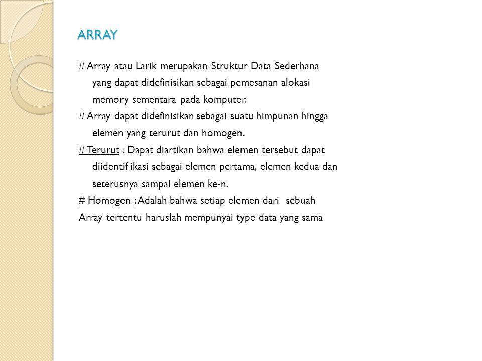 ARRAY # Array atau Larik merupakan Struktur Data Sederhana yang dapat didefinisikan sebagai pemesanan alokasi memory sementara pada komputer.
