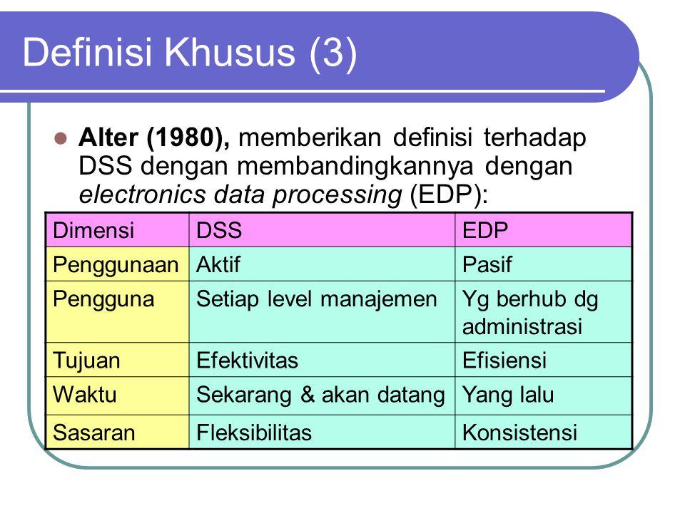 Definisi Khusus (3) Alter (1980), memberikan definisi terhadap DSS dengan membandingkannya dengan electronics data processing (EDP): DimensiDSSEDP Pen