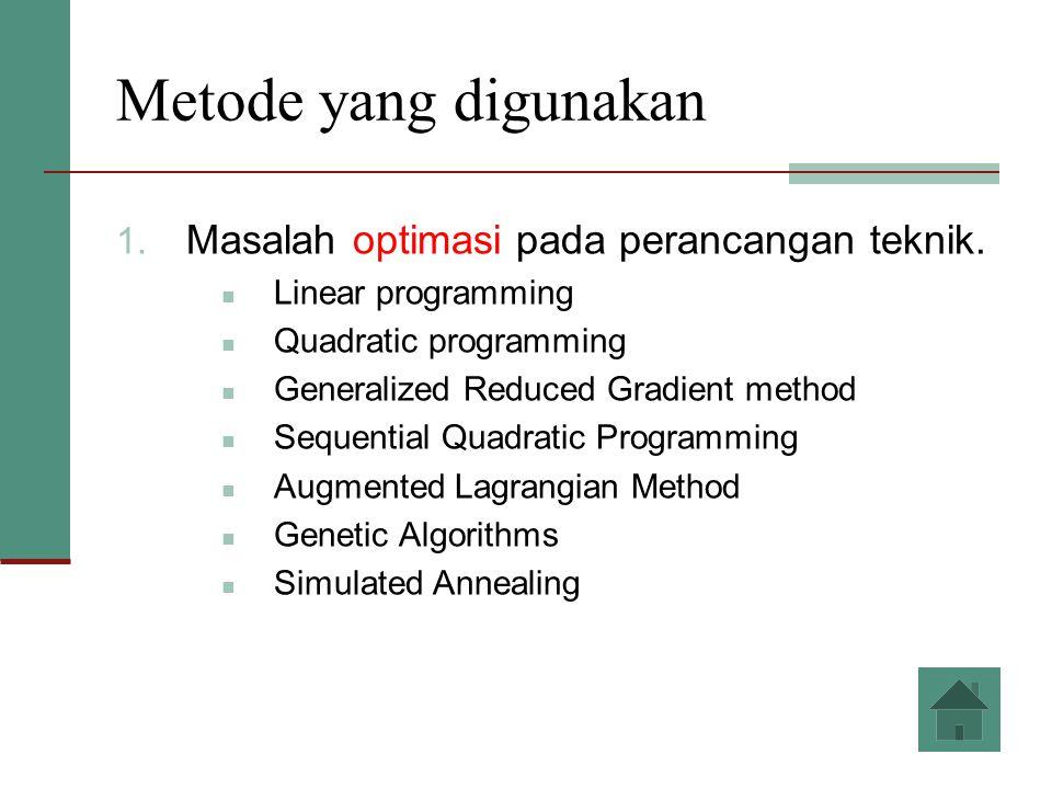 Metode yang digunakan 1. Masalah optimasi pada perancangan teknik. Linear programming Quadratic programming Generalized Reduced Gradient method Sequen