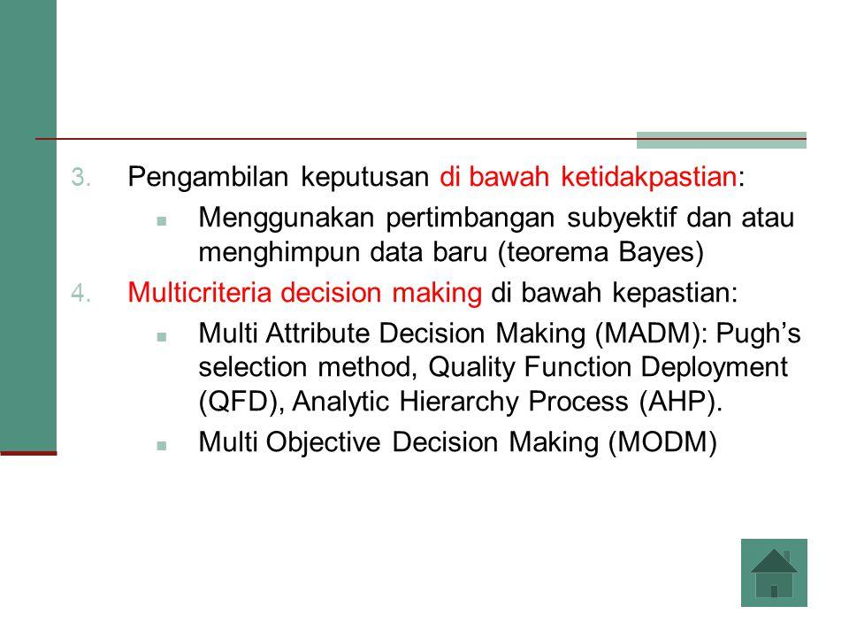 3. Pengambilan keputusan di bawah ketidakpastian: Menggunakan pertimbangan subyektif dan atau menghimpun data baru (teorema Bayes) 4. Multicriteria de
