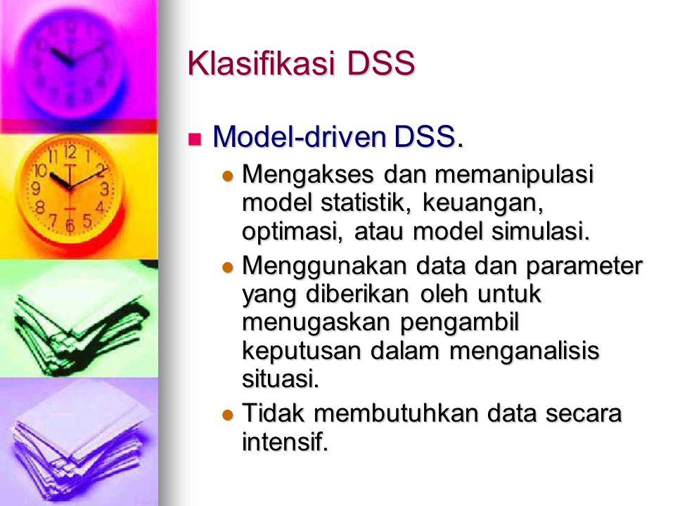 Klasifikasi DSS Model-driven DSS. Model-driven DSS. Mengakses dan memanipulasi model statistik, keuangan, optimasi, atau model simulasi. Mengakses dan