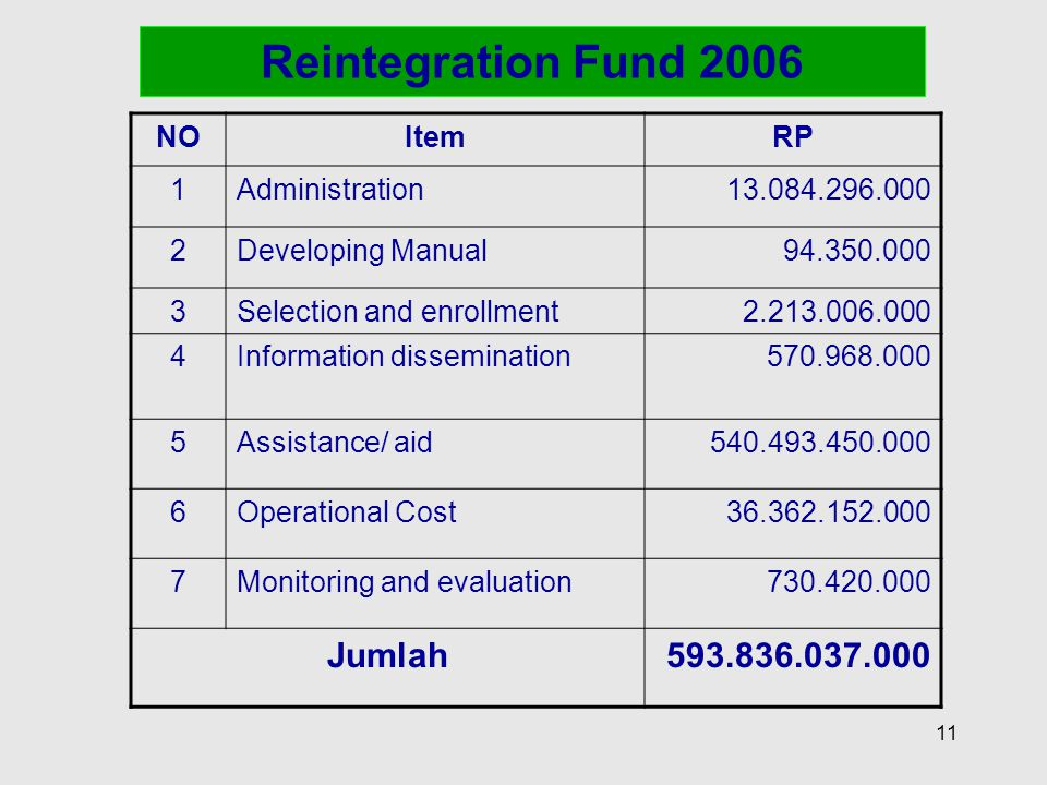 11 Reintegration Fund 2006 NOItemRP 1Administration13.084.296.000 2Developing Manual94.350.000 3Selection and enrollment2.213.006.000 4Information dis