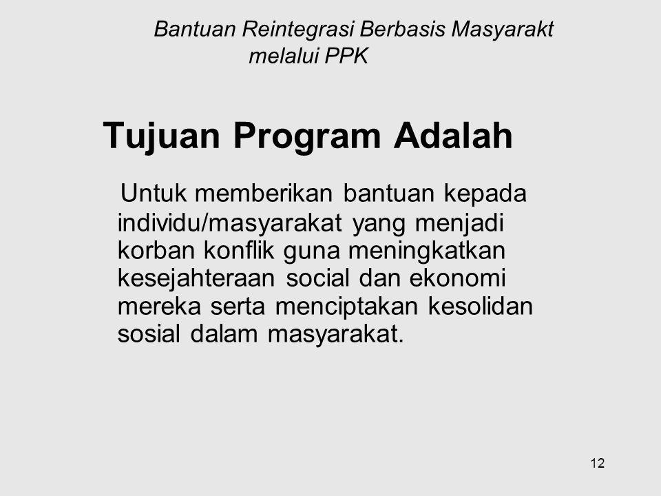 12 Program Bantuan Reintegrasi Berbasis Masyarakt melalui PPK Tujuan Program Adalah Untuk memberikan bantuan kepada individu/masyarakat yang menjadi k