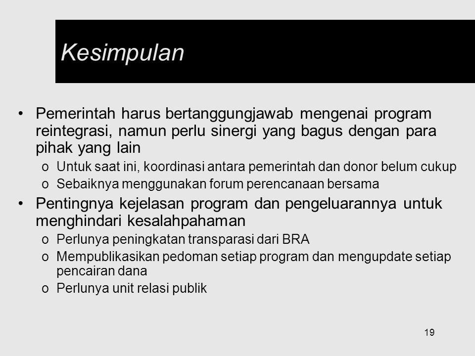 19 Kesimpulan Pemerintah harus bertanggungjawab mengenai program reintegrasi, namun perlu sinergi yang bagus dengan para pihak yang lain oUntuk saat i