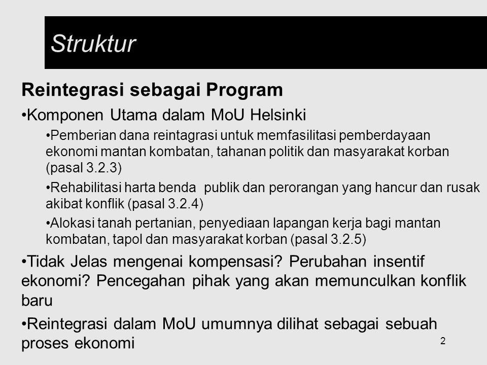 2 Struktur Reintegrasi sebagai Program Komponen Utama dalam MoU Helsinki Pemberian dana reintagrasi untuk memfasilitasi pemberdayaan ekonomi mantan ko