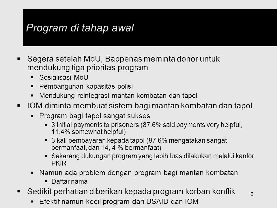7 PJS Gubernur memberikan tiga tahap pembayaran bagi mantan kombatan bulan Okb, Nov, dan Jan (1 juta per kombatan untuk 3000 orang) Pembayaran tahap awal bagi mantan kombatan District(s)Amount Received per Round (Rp.) MinimumMaximum Aceh Barat Daya30,000110,000 Aceh Besar50,000200,000 Aceh Jaya250,000300,000 Aceh Selatan50,000150,000 Aceh Tamiang80,000150,000 Aceh Timur200,000300,000 Aceh UtaraIn kind800,000 Aceh Tengah and BM250,000750,000 Disalurkan melalui Struktur Komando GAM Kebanyakan GAM menerima uang (68,7%), namun jumlahnya kecil (rata-rata Rp.