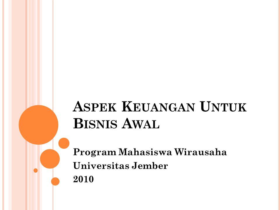 A SPEK K EUANGAN U NTUK B ISNIS A WAL Program Mahasiswa Wirausaha Universitas Jember 2010