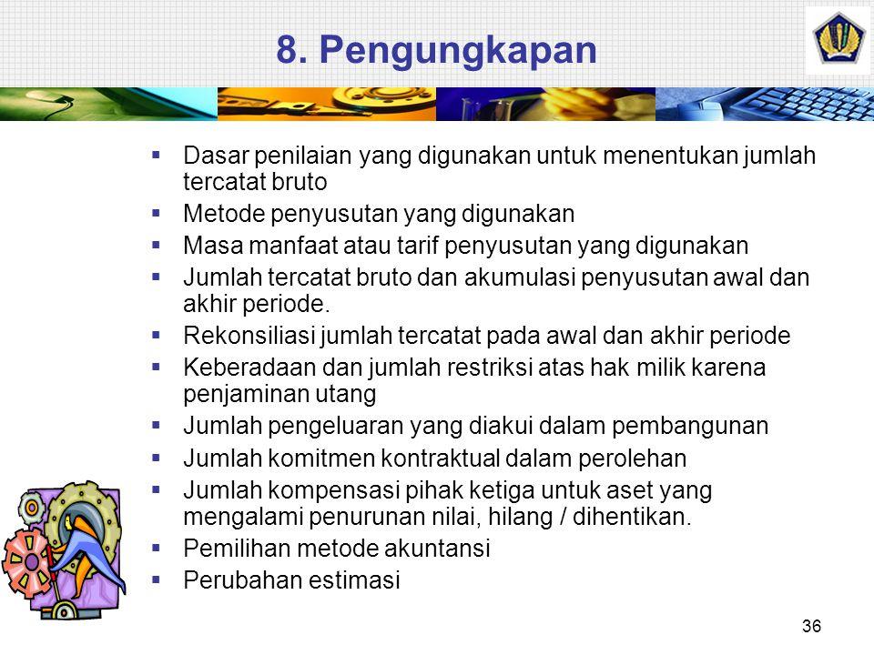 8. Pengungkapan 36  Dasar penilaian yang digunakan untuk menentukan jumlah tercatat bruto  Metode penyusutan yang digunakan  Masa manfaat atau tari