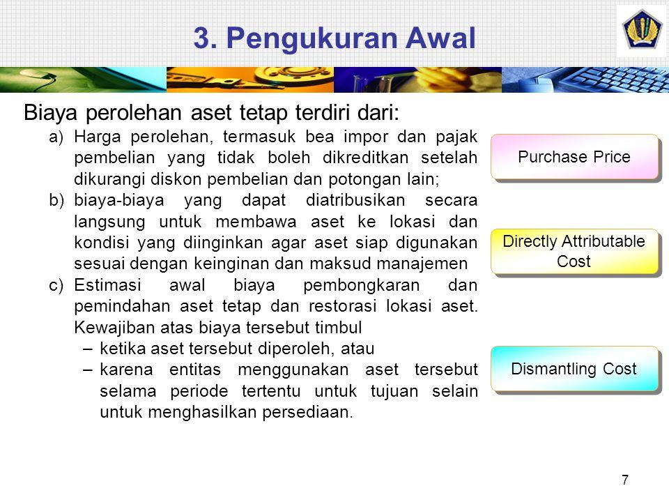 3. Pengukuran Awal Biaya perolehan aset tetap terdiri dari: a) Harga perolehan, termasuk bea impor dan pajak pembelian yang tidak boleh dikreditkan se