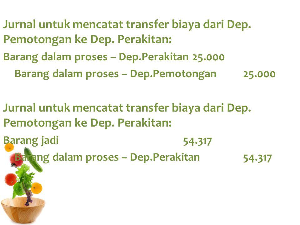 Jurnal untuk mencatat transfer biaya dari Dep. Pemotongan ke Dep. Perakitan: Barang dalam proses – Dep.Perakitan 25.000 Barang dalam proses – Dep.Pemo