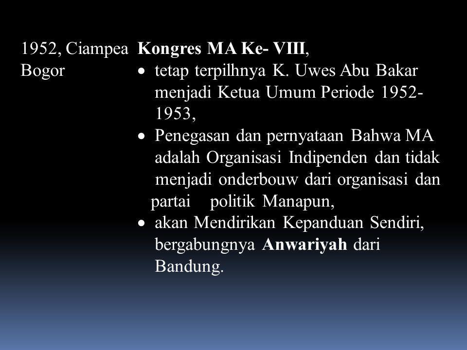 1951, Menes Kongres MA Ke- VII  tetap terpilhnya K. Uwes Abu Bakar menjadi Ketua Umum Periode 1951- 1952