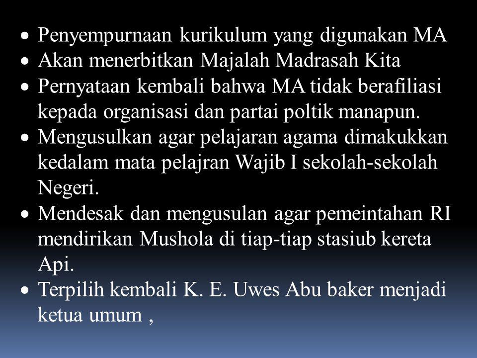 Desember 1953, Pamoyanan, Bandung Kongres MA Ke- IX,  Pengesahan berdirinya Pandu Cahaya Islam seagai Badan Otonom MA  Berdirinya Muslimat MA Ketua