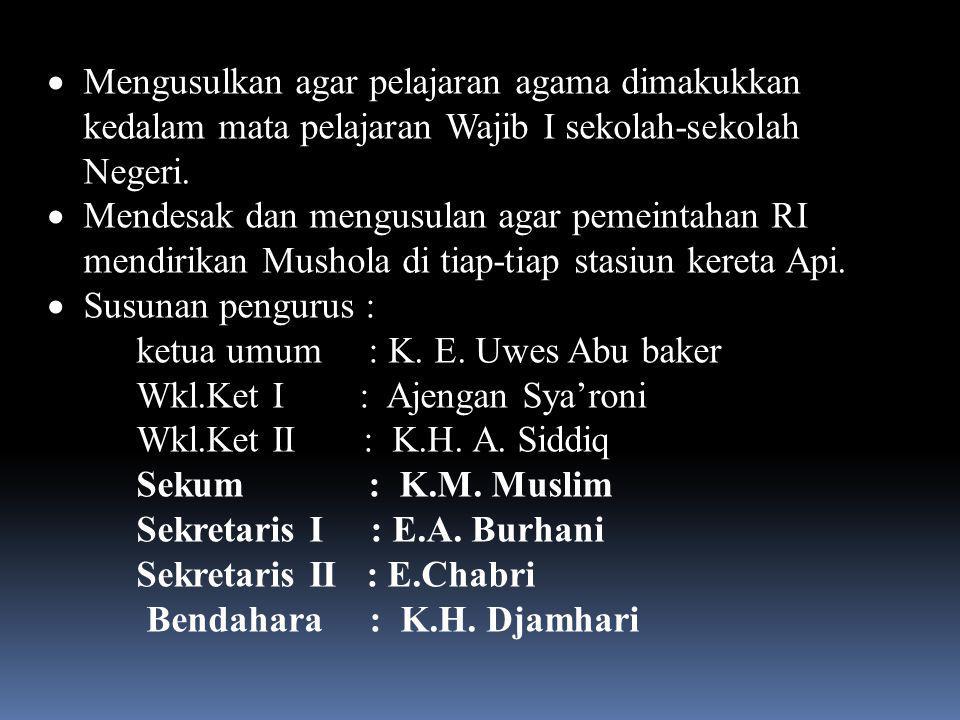 Januari 1956, menes Kongres MA ke- X ( sekalgus ulang Tahun Berdirinya MA ke-40  Menerbitkan Buku Yubelium kenang-kenagan kongres dan Hut ( Tidak Terbit )  Berdirinya Badan Otonom pemuda Mathla'ul-Anwar  Pernyataan kembali bahwa MA tidak berafiliasi kepada organisasi dan partai poltik manapun.