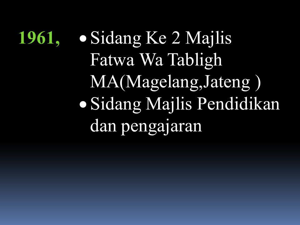1960  MA menjadi urutan Ke 3 dari ormas-ormas yang ada di Tanah Air pada waktu itu.  Sidang pertama Majlis Fatwa Wa Tabligh MA(Buaran Jati Mauk, Tan