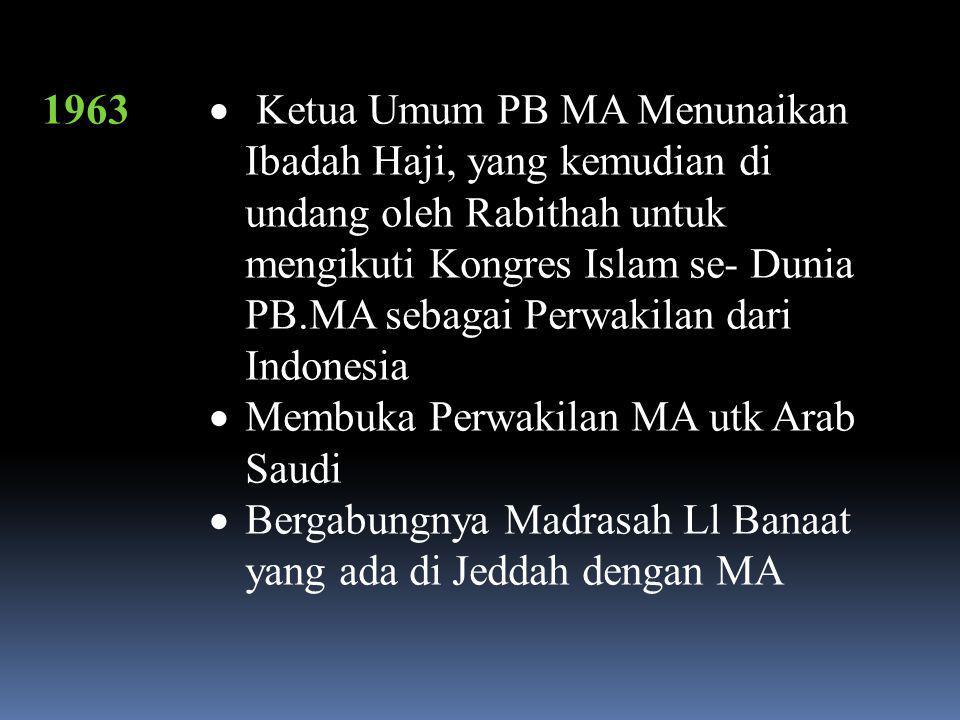 1962,  Sidang Ke-3 Majlis Fatwa Wa Tabligh MA( Karawang )  Yayasan Pendidikan Islam Indonesia Jateng Berga\bung dengan MA ( Bln Januari )  Terpisah Majlis fatwa dengan Majlis Tabligh MA
