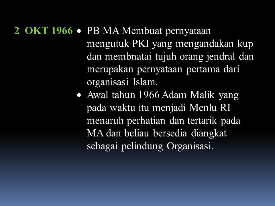 1965  MA ditunjuk menjadi salah satu MPH ( TPHI ) yaitu Majlis pembingbing Haji dan diberi tugas kepada M.Muslim Abdurahman