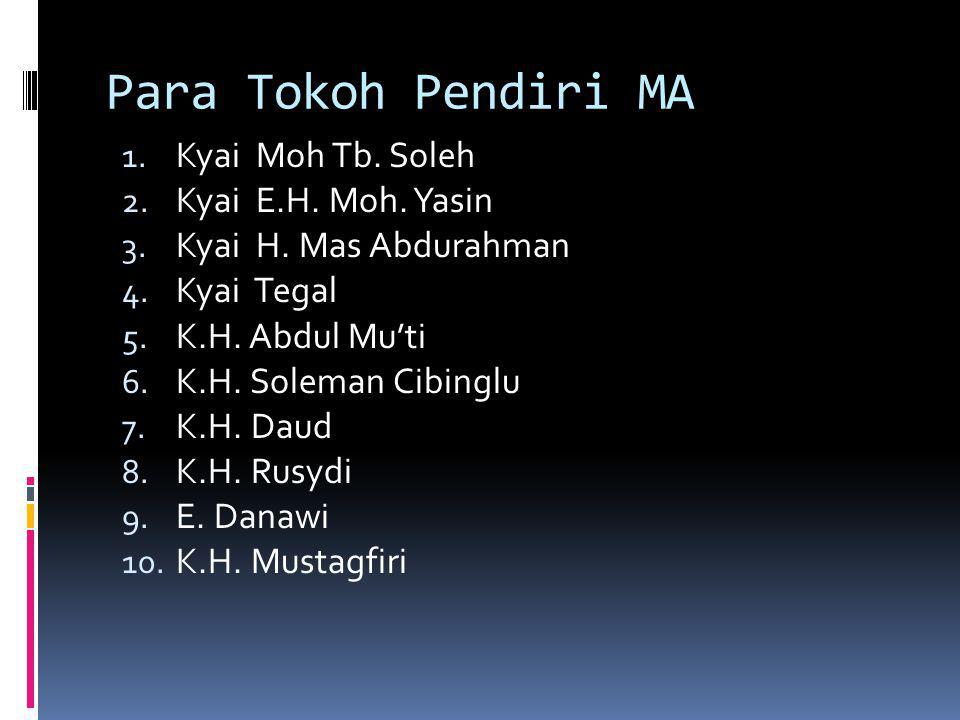 Para Tokoh Pendiri MA 1.Kyai Moh Tb. Soleh 2. Kyai E.H.