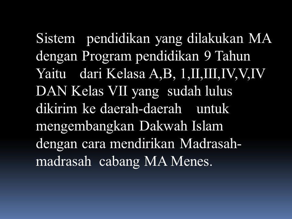 Sistem pendidikan yang dilakukan MA dengan Program pendidikan 9 Tahun Yaitu dari Kelasa A,B, 1,II,III,IV,V,IV DAN Kelas VII yang sudah lulus dikirim ke daerah-daerah untuk mengembangkan Dakwah Islam dengan cara mendirikan Madrasah- madrasah cabang MA Menes.