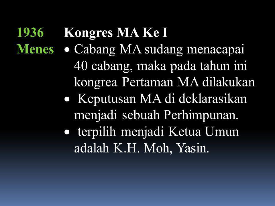 1951, Menes Kongres MA Ke- VII  tetap terpilhnya K.