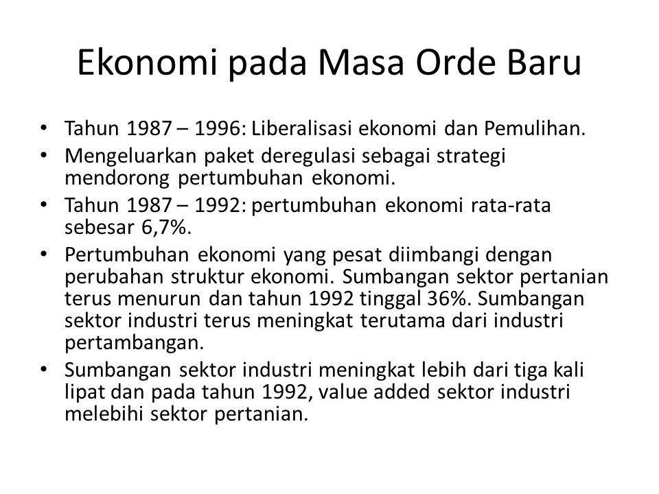 Ekonomi pada Masa Orde Baru Tahun 1987 – 1996: Liberalisasi ekonomi dan Pemulihan.
