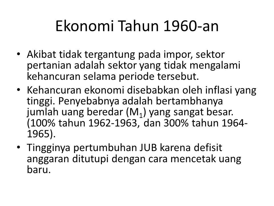 Ekonomi Tahun 1960-an Akibat tidak tergantung pada impor, sektor pertanian adalah sektor yang tidak mengalami kehancuran selama periode tersebut.
