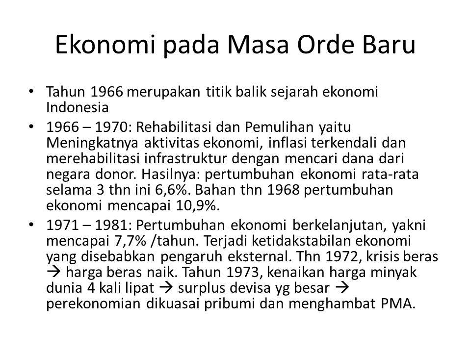 Ekonomi pada Masa Orde Baru Tahun 1966 merupakan titik balik sejarah ekonomi Indonesia 1966 – 1970: Rehabilitasi dan Pemulihan yaitu Meningkatnya aktivitas ekonomi, inflasi terkendali dan merehabilitasi infrastruktur dengan mencari dana dari negara donor.