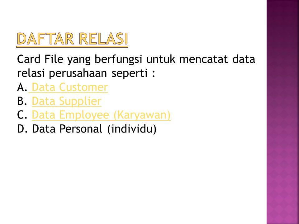 Card File yang berfungsi untuk mencatat data relasi perusahaan seperti : A.