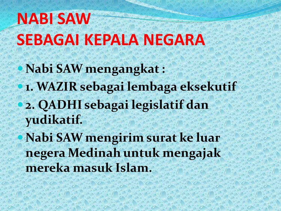 NABI SAW SEBAGAI KEPALA NEGARA Nabi SAW mengangkat : 1. WAZIR sebagai lembaga eksekutif 2. QADHI sebagai legislatif dan yudikatif. Nabi SAW mengirim s