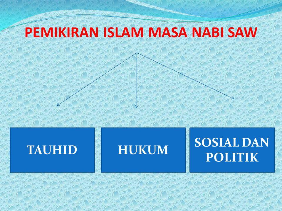 PEMIKIRAN ISLAM MASA NABI SAW HUKUM SOSIAL DAN POLITIK TAUHID