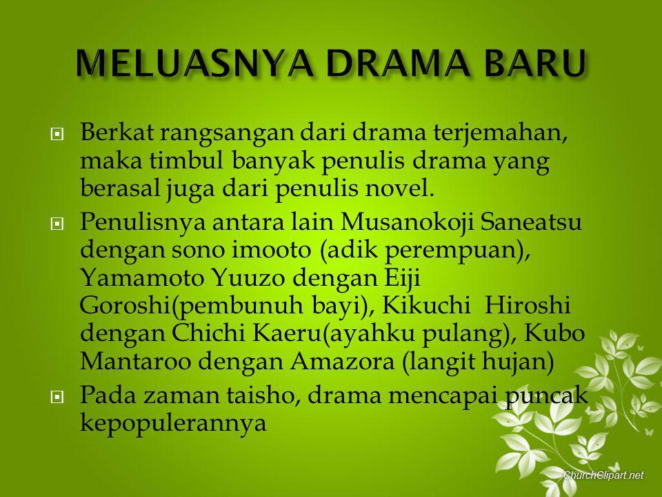  Berkat rangsangan dari drama terjemahan, maka timbul banyak penulis drama yang berasal juga dari penulis novel.  Penulisnya antara lain Musanokoji