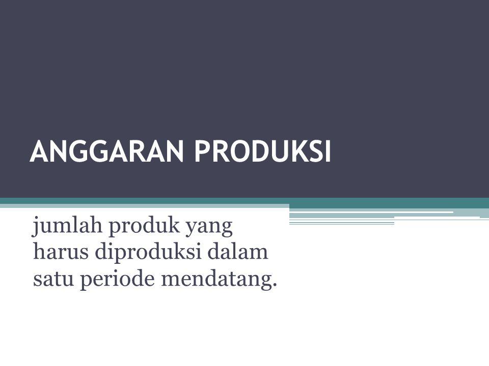 ANGGARAN PRODUKSI jumlah produk yang harus diproduksi dalam satu periode mendatang.