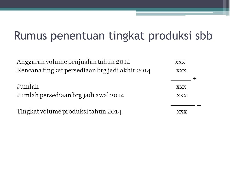 Rumus penentuan tingkat produksi sbb Anggaran volume penjualan tahun 2014 xxx Rencana tingkat persediaan brg jadi akhir 2014 xxx _____ + Jumlah xxx Ju