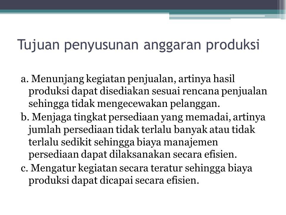 Tujuan penyusunan anggaran produksi a. Menunjang kegiatan penjualan, artinya hasil produksi dapat disediakan sesuai rencana penjualan sehingga tidak m