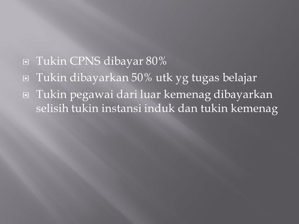 Tukin CPNS dibayar 80%  Tukin dibayarkan 50% utk yg tugas belajar  Tukin pegawai dari luar kemenag dibayarkan selisih tukin instansi induk dan tuk