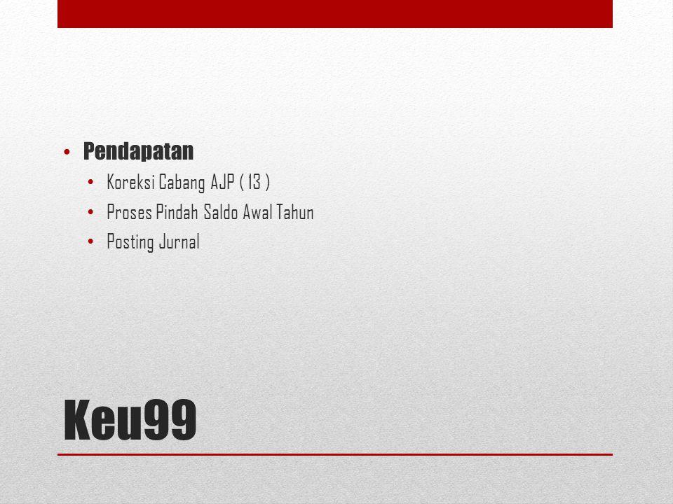 Keu99 Pendapatan Koreksi Cabang AJP ( 13 ) Proses Pindah Saldo Awal Tahun Posting Jurnal