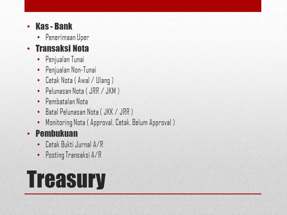Treasury Kas - Bank Penerimaan Uper Transaksi Nota Penjualan Tunai Penjualan Non-Tunai Cetak Nota ( Awal / Ulang ) Pelunasan Nota ( JRR / JKM ) Pembat
