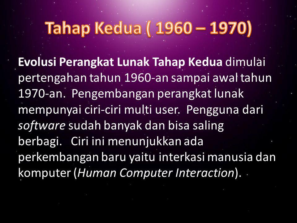 Evolusi perangkat lunak tahap pertama dimulai pada awal 1950-an sampai pertengahan 1960.